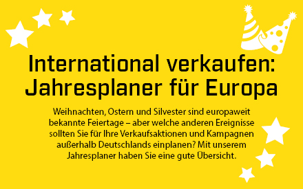 International verkaufen: Jahresplaner 2017 für Europa