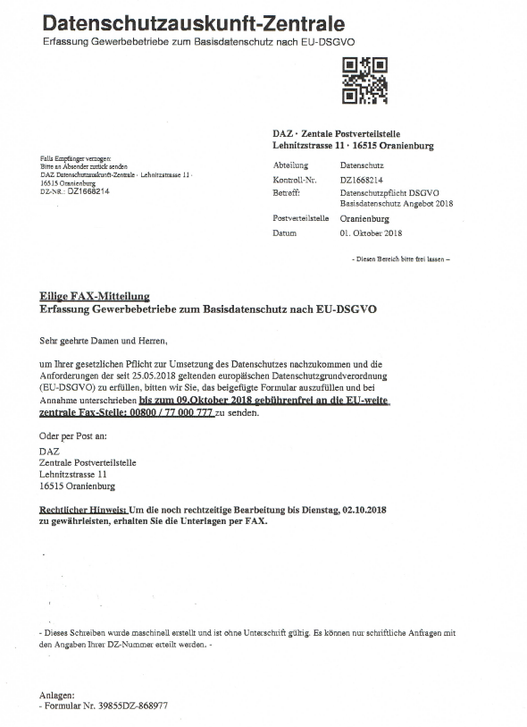 Achtung Abofalle Datenschutzauskunft Zentrale Nicht